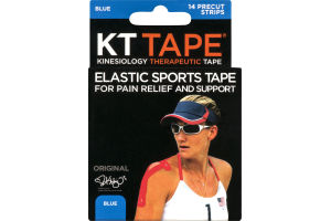 KT Tape Kinesiology Therapeutic Tape Precut Strips Blue - 14 CT