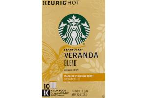 Starbucks Keurig Hot Veranada Blend Blonde Roast Ground Coffee K-Cup Pods - 10 CT
