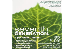Seventh Generation 2 Ply Facial Tissues White Unscented