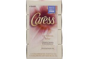 Caress Endless Kiss Soap Bars Creamy Vanilla & Sandalwood - 4 CT