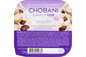 Chobani Simply 100 Non-Fat Greek Yogurt Crunch Vanilla Coconut Macaron