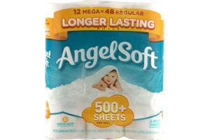 Angel Soft Bathroom Tissue Mega Rolls - 12 CT