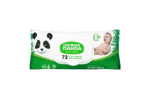 Салфетки влажные для малышей с экстрактом алоэ вера Сніжна панда 72шт