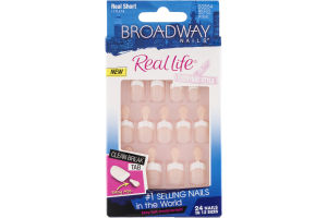 Broadway Nails Real Life Real Short Length Pink - 24 CT