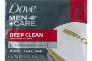 Dove Men+Care Body and Face Bar Soap Deep Clean - 2 CT