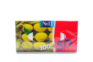Платочки бумажные 2-х слойные Лимон №1 Bella 150шт