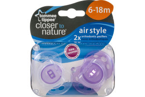 Tommee Tippee Closer To Nature Air Style Orthodontic Pacifiers 6-18m - 2 CT