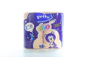 Бумага туалетная 2-х слойная персиковая Vivo Grite 4шт