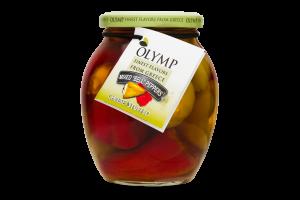 Перец острый зеленый и красный фаршированный сыром Olymp с/б 360г