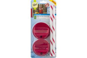 Ball Mason Jar Sip & Straw Lids Wide Mouth - 4 CT