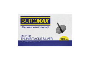 Кнопки канцелярские никелированные №ВМ.5102 Buromax 100шт