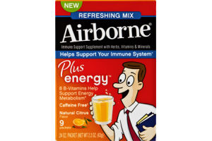 Airborne Plus Energy Refreshing Mix Immune Support Supplement Packets Citrus - 9 CT