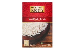 Рис шлифованный длиннозерный Basmati World's Rice к/у 400г