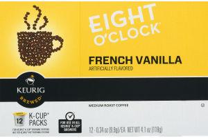 Eight O'Clock French Vanilla Medium Roast Coffee K-Cup Packs - 12 CT