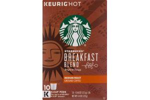 Starbucks Keurig Hot Breakfast Blend Medium Roast Ground Coffee K-Cup Pods - 10 CT