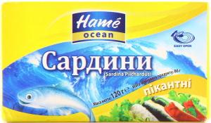 Сардина Hame Ocean пикантная к/у ж/б ключ 120г