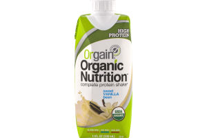 Orgain Organic Nutrition Complete Protein Shake Sweet Vanilla Bean