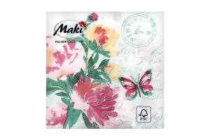 Салфетка бумажнаяMaki с рисунком 3-сл M-05