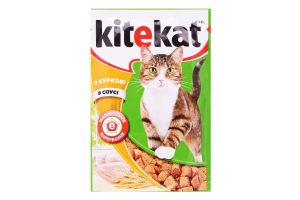 Корм для взрослых котов с курицей в соусе Kitekat д/п 100г