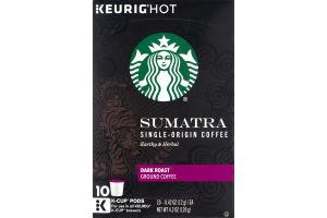 Starbucks Keurig Hot Sumatra Single-Origin Coffee Dark Roast Ground Coffee K-Cup Pods - 10 CT