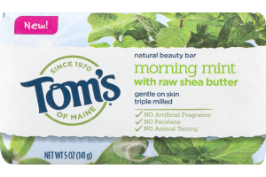Tom's Of Maine Natural Beauty Bar Morning Mint With Raw Shea Butter