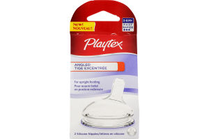 Playtex Silicone Nipples Angled 3-6m+ - 2 CT
