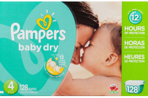 Pampers Baby Dry Diapers Size 4 - 128 CT