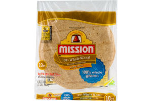 Mission Soft Taco Flour Tortillas 100% Whole Wheat - 10 CT