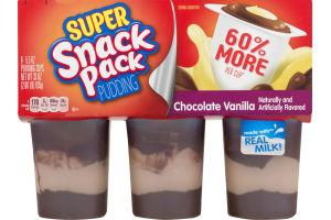 Super Snack Pack Pudding Chocolate Vanilla - 6 CT