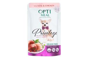 Корм вологий беззерновий з телятиною та курячим філе в соусі для дорослих собак мініатюрних і малих порід Privilege Optimeal м/у 85г