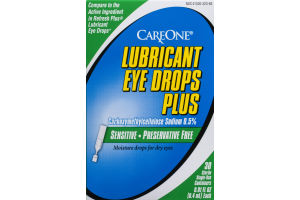 CareOne Lubricant Eye Drops Plus Sterile Single-Use Containers - 30 CT