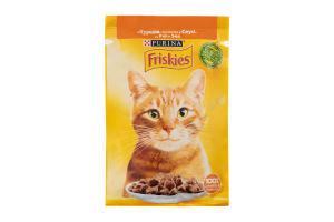 Корм для котів Фріскіс вологий з куркою шматочки у соусі 26x85г