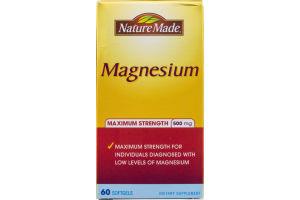 Nature Made Magnesium Maximum Strength 500 mg Softgels - 60 CT