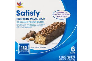 Ahold Satisfy Protein Meal Bar Chocolate Peanut Butter - 6 CT