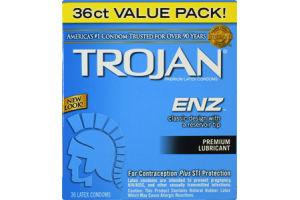 Trojan ENZ Premium Lubricant Latex Condoms - 36 CT