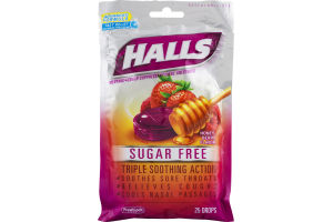 Halls Menthol Cough Suppresant/Oral Anesthetic Sugar Free Drops Honey-Berry Flavor - 25 CT