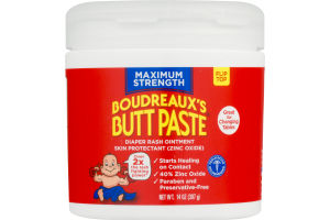 Boudreaux's Butt Paste Diaper Rash Ointment Maximum Strength