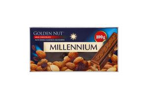 Шоколад молочний з цілим мигдалем та родзинками Golden Nut Millennium к/у 100г