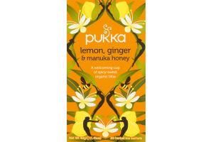 Pukka Herbal Tea Sachets Lemon, Ginger & Manuka Honey - 20 CT