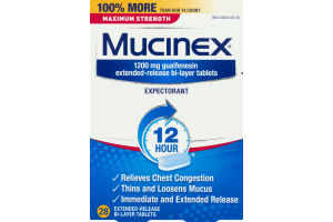 Mucinex Expextorant Extended Release Bi-Layer Tablets - 28 CT