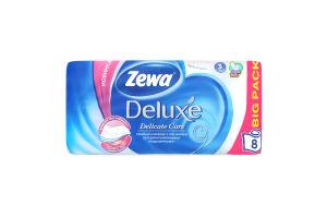Папір туалетний 3-х шаровий без аромату Deluxe Zewa 8шт