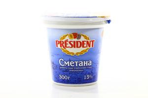 Сметана 15% President ст 300г