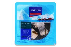 Оселедець філе-шматочки в кисло-солодкому соусі з морською капустою Norven лоток 200г