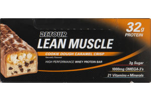 Detour Lean Muscle 32g Protein High Performance Whey Protein Bar Cookie Dough Caramel Crisp - 12 CT