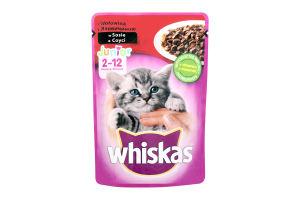 Корм влажный для котят с говядиной в соусе Whiskas д/п 100г