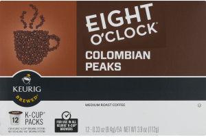 Eight O'Clock Colombian Peaks Medium Roast Coffee K-Cup Packs - 12 CT