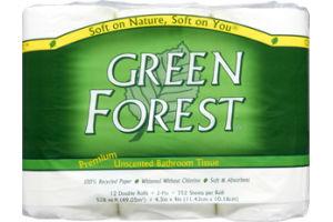Green Forest Premium White Unscented Bathroom Tissue - 12 CT