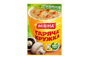 Суп-пюре быстрого приготовления Грибной с гренками Горячая кружка Мівіна м/у 15г