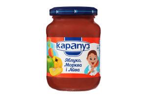 Пюре для детей от 4мес из яблок, моркови и айвы Румяные щечки Карапуз с/б 200г