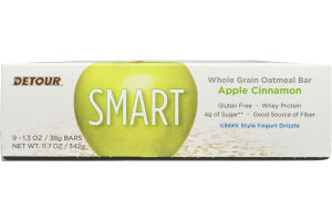 Detour SMART Whole Grain Oatmeal Bar Apple Cinnamon - 9 CT